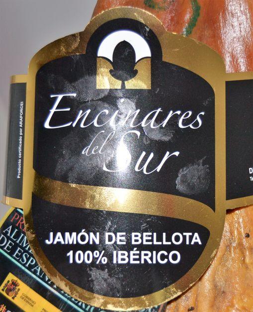 Etiqueta del Jamón de bellota Encinares de Sur